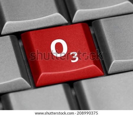 Computer key - O3 - Ozone - stock photo