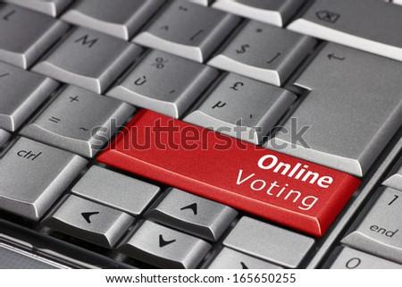Computer Key - Online voting - stock photo