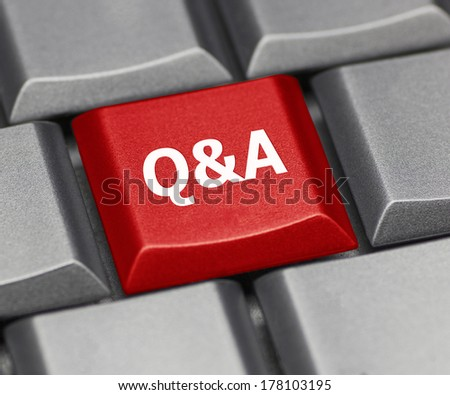 Computer key - Q & A - stock photo