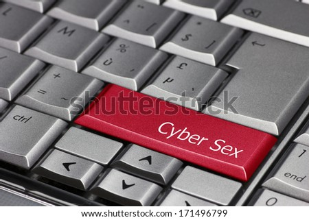 Computer key red - Cyber Sex - stock photo