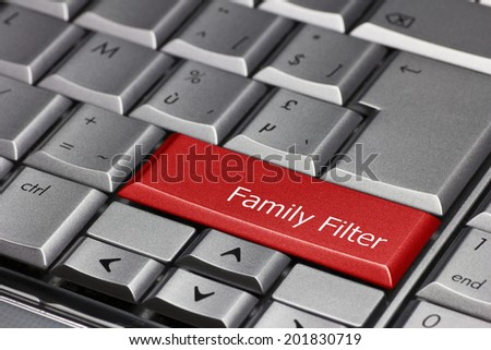 Computer key red - Family filter - stock photo
