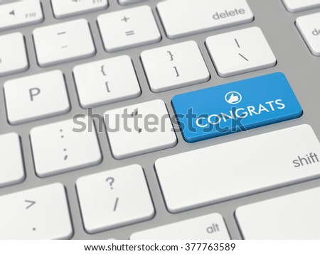 Computer key showing the word congrats with icon