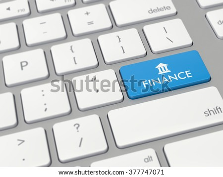Computer key showing the word finance with icon