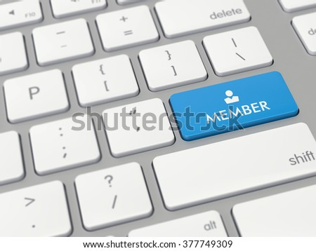 Computer key showing the word member with icon