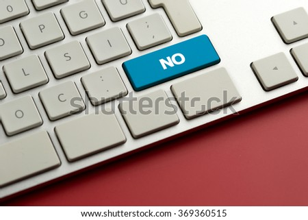 Computer key showing the word NO