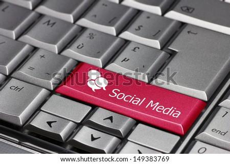 computer key - social media - stock photo