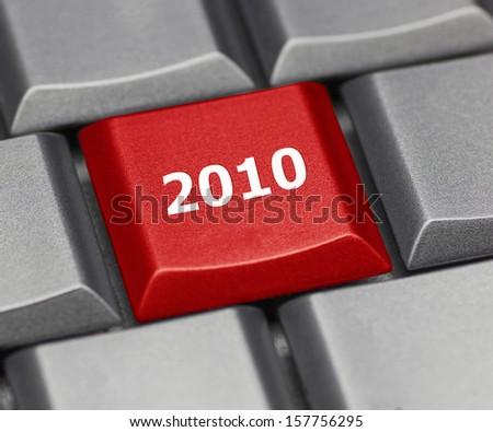Computer key - The year 2010 - stock photo