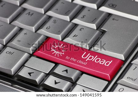 Computer key - upload to the cloud - stock photo