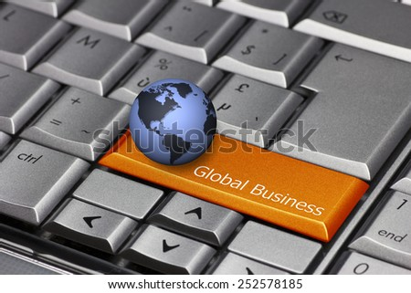 Computer key with globe showing the Americas - Global Business - stock photo