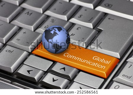 Computer key with globe showing the Americas - Global Communication - stock photo