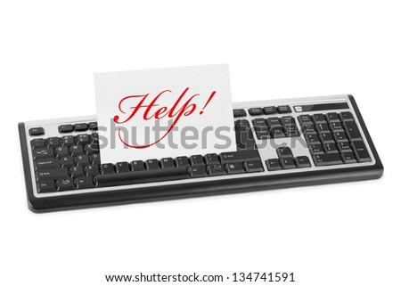 Computer keyboard and card Help isolated on white background - stock photo