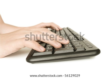 computer keyboard and hands isolated on white