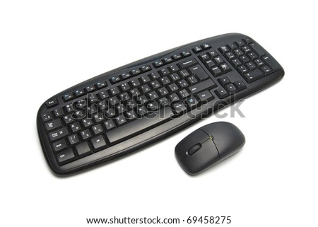 Computer keyboard and mouse isolated on white - stock photo