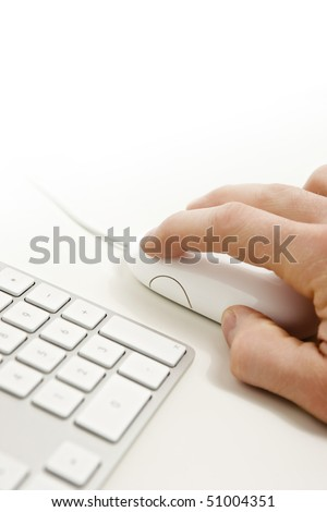 computer keyboard and mouse on a white background - stock photo
