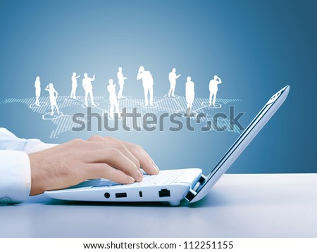 Computer keyboard and multiple social media images - stock photo
