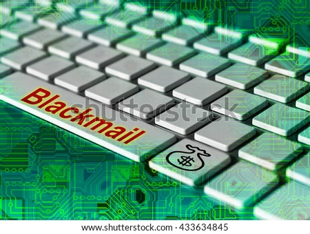 Computer keyboard button with infected virus ransomware - stock photo