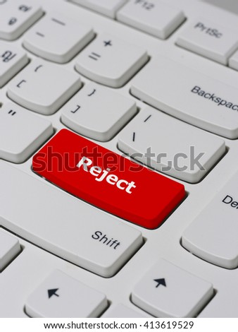 Computer keyboard button with reject text