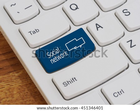 Computer keyboard button with Social network text
