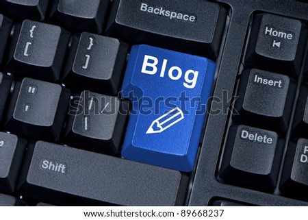 Computer keyboard button with word blog with icon pencil. - stock photo