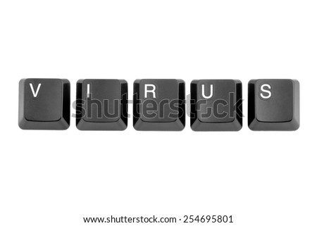 Computer keyboard buttons forming the word virus. - stock photo
