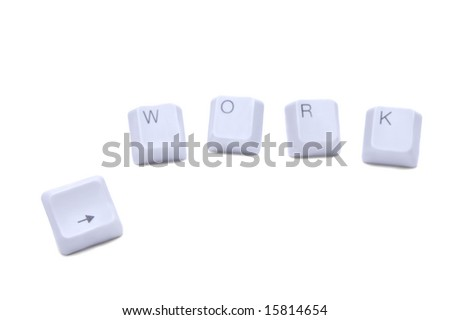 "Computer keyboard buttons ""work"" and arrow isolated on white background"