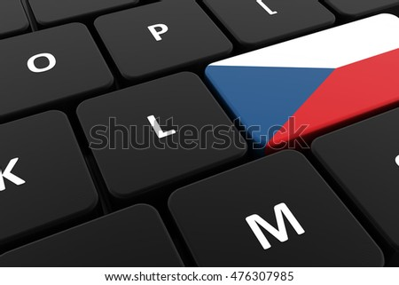 Computer keyboard, close-up button of the flag of Czech Republic. 3D render of a laptop keyboard