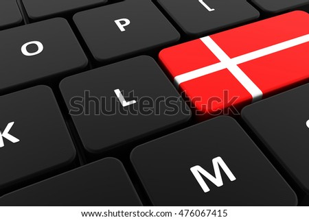 Computer keyboard, close-up button of the flag of Denmark . 3D render of a laptop keyboard
