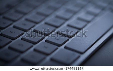 Computer keyboard close-up with empty space - stock photo