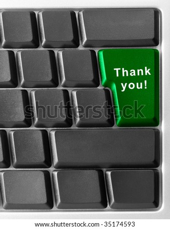 "Computer keyboard concept with key ""Thank You"""