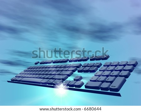 Computer keyboard in clouds. 3D landscape - stock photo