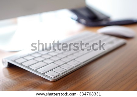Computer keyboard in selective focus - stock photo