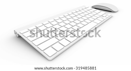 Computer keyboard Isolated on white background 3d rendering