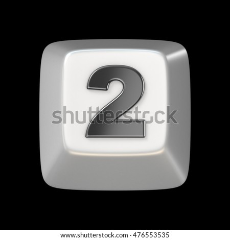 Computer keyboard key number TWO 2 3D render illustration isolated on black background