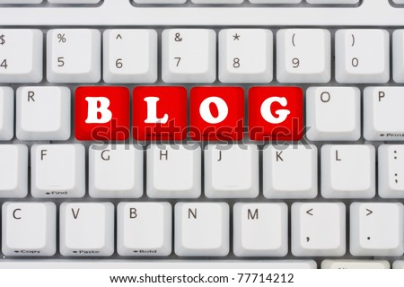 Computer keyboard keys displaying the word blog in red, Blogging on the internet