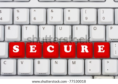 Computer keyboard keys displaying the word secure, computer security