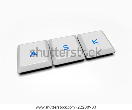 Computer keyboard keys spell out the word ask.