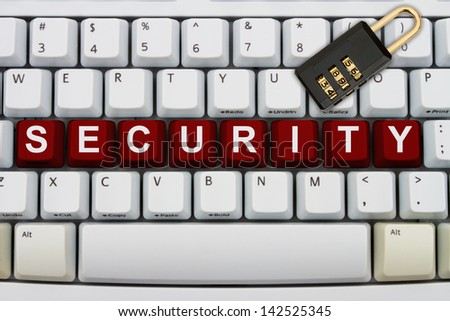 Computer keyboard keys with word security and a combination lock, Online Security