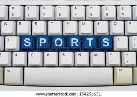 Computer keyboard keys with word Sports, Getting your sports information online