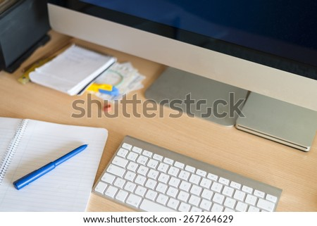 computer keyboard on the desk - stock photo
