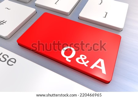 Computer keyboard rendered illustration with a Q&A Button Concept - stock photo