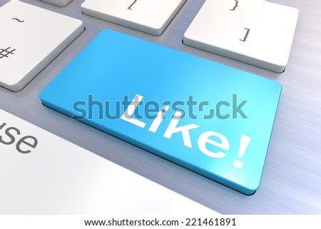 Computer keyboard rendered illustration with a Social Media Like Button Concept - stock photo