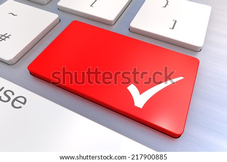 Computer keyboard rendered illustration with an agreement Tick key - stock photo