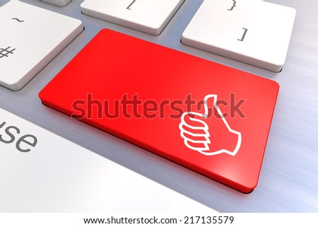 Computer keyboard rendered illustration with thumb gesturing hand key - stock photo