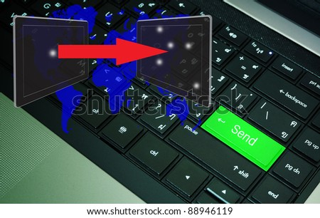 computer keyboard send with social network digram - stock photo