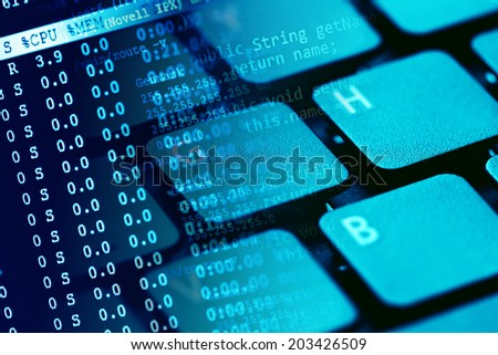 Computer keyboard. Small depth of field.  - stock photo