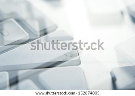 computer keyboard view before sleeping at work - stock photo