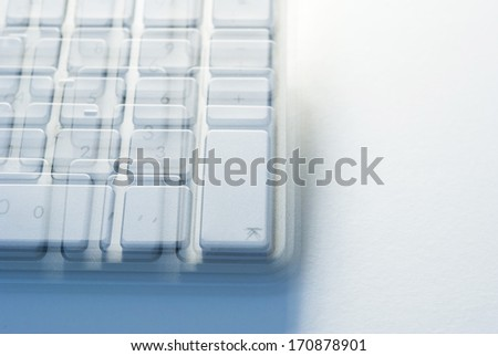 computer keyboard view before sleeping at work - stock photo