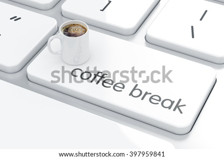 Computer keyboard white button with white coffee cup. Coffee break concept.  3d rendering - stock photo