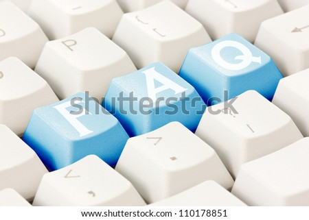 Computer keyboard with a FAQ text on the keys