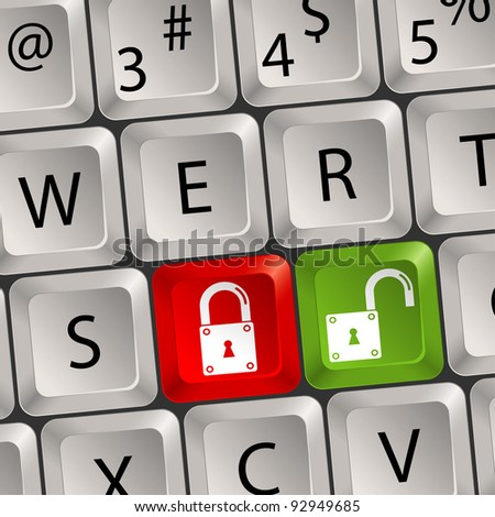 Computer keyboard with a Lock key, raster version - stock photo
